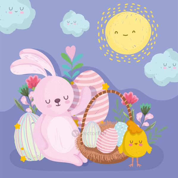 cute easter bunny with chicken egg on basket cartoon