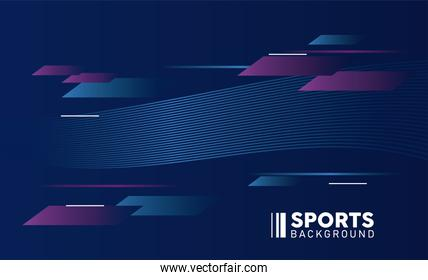 blue and purple sport background with lettering white