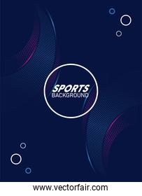 blue sport background with lettering white in circular frame