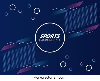 purple and blue sport background with lettering white in circular frame