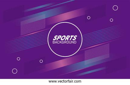 purple sport background with lettering white in circular frame