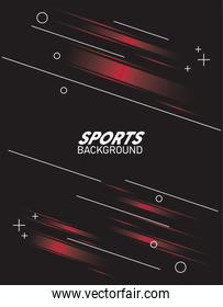 black and red sport background with lettering white