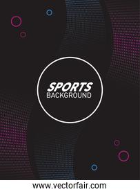 fucshia and black sport background with lettering white in circular frame