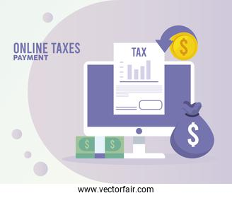 online taxes payment with desktop and document