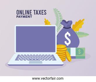 online taxes payment with laptop and money