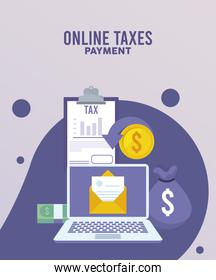 online taxes payment with laptop and checklist