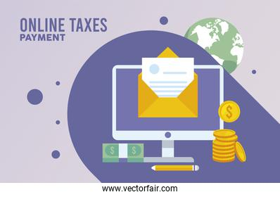 online taxes payment with desktop and envelope
