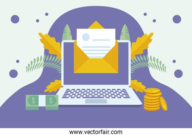 online taxes payment with laptop and envelope