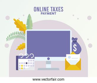 online taxes payment with desktop and calendar