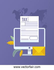 online taxes payment with desktop and document paper