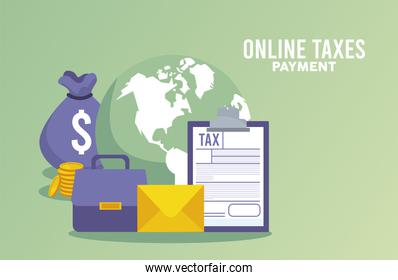 online taxes payment with money and documents in earth planet