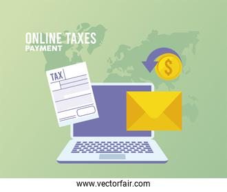 online taxes payment with documents in laptop