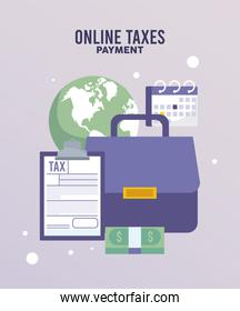 online taxes payment with documents and portfolio in earth planet