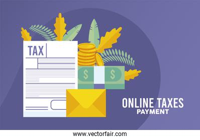 online taxes payment and documents with money