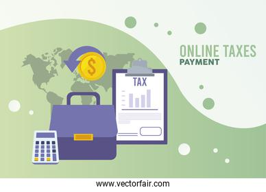 online taxes payment with checklist and documents in earth planet