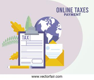 online taxes payment with checklist and envelope in earth planet