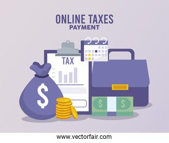 online taxes payment with documents and money