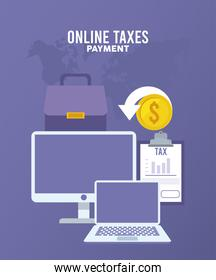 online taxes payment with desktop and laptop