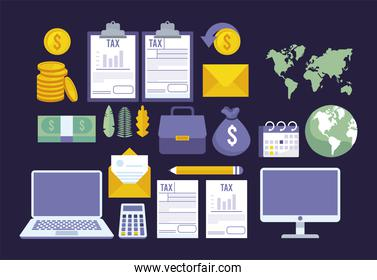 bundle of online taxes payment set icons