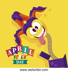 april fools day lettering with emoji in surprise box