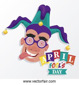 april fools day lettering with man wearing funny accessories