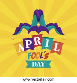 april fools day lettering with joker hat accessory