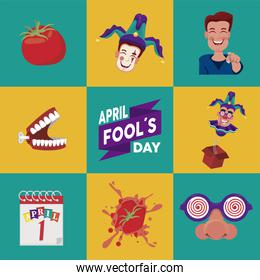 april fools day lettering with eight set icons