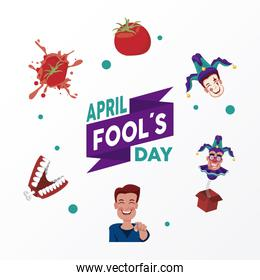 april fools day lettering with six icons around