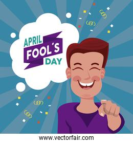 april fools day lettering with man laughing
