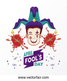 april fools day lettering with joke laughing and popped tomatoes