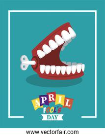 april fools day lettering with joke denture