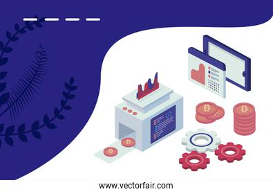 bitcoins machine with gears and social media isometric set icons