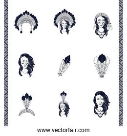 bundle of natives american women and feathers decorations tribal style