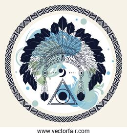 feathers native crown tribal style in circular frame