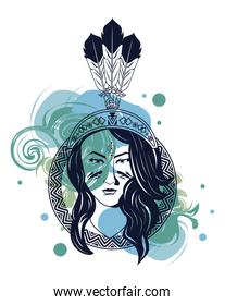 native american woman with feather hat in paint mark tribal style