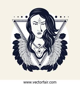 native american woman in triangular frame with feathers tribal style
