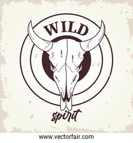 wild spirit lettering with bull head skull