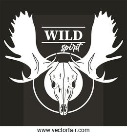 wild spirit lettering with moose head skull