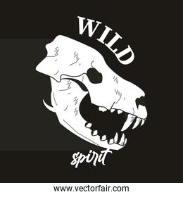 wild spirit lettering with lion head skull