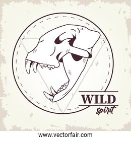 wild spirit lettering with tiger head skull