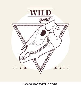 wild spirit lettering with horse head skull