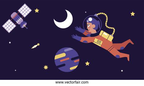 astronaut girl floating with satellite space scene