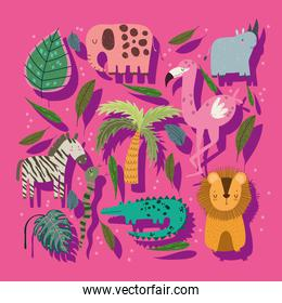 cute cartoon jungle animals palm tree and leaves over pink background