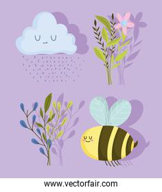 spring bee flowers cloud raindrops and