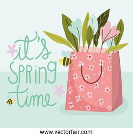 spring time paper bag with flowers nature decoration