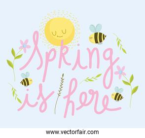 spring sun bee flowers hand drawn lettering