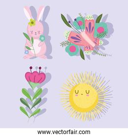 spring rabbit butterfly sun flowers nature icon set