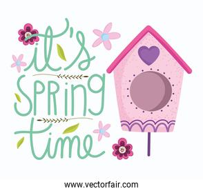 spring time bird house flowers decoration card