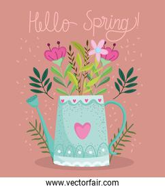 hello spring watering can flowers foliage nature