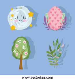 happy easter egg tree flowers foliage and moon set